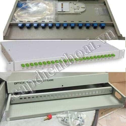 """Hộp phối quang ODF 8Fo 12Fo 24Fo lắp tủ rack 19"""" trong nhà"""