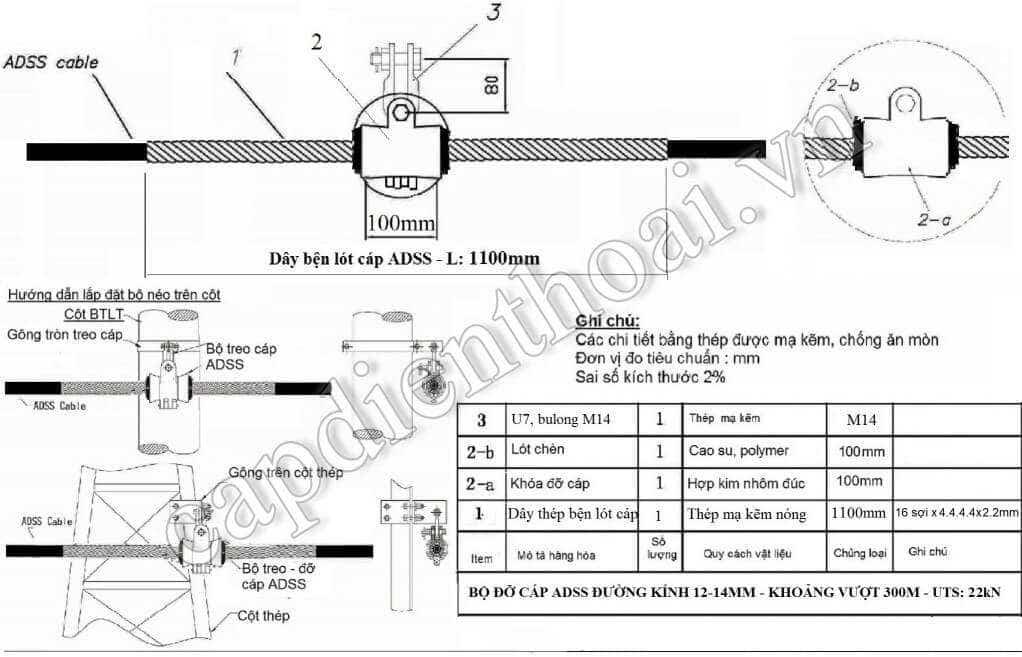 Chi tiết bộ treo cáp quang adss
