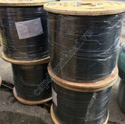 Dây cáp quang treo 2FO, core ống chặt là loại dây thuê bao FTTH 2 core ( 2 sợi quang) có dây chịu lực có thể treo hoặc luồn ống